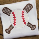 Baseball and Bats Applique