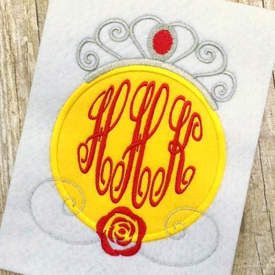 Belle Princess Applique Monogram Frame