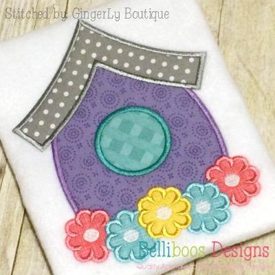 Birdhouse Applique Embroidery Design Spring