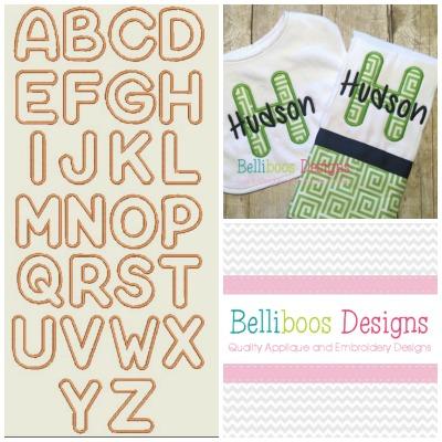 Bubble Applique Alphabet Embroidery Design