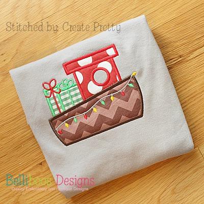 Christmas applique - boat applique - holiday applique - Christmas embroidery - embroidery design - applique design - boat embroidery - holiday embroidery - machine embroidery - Christmas boat applique