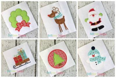 christmas applique - santa applique - holiday applique - wreath applique - applique design - reindeer applique - snowman applique embroidery design - machine embroidery