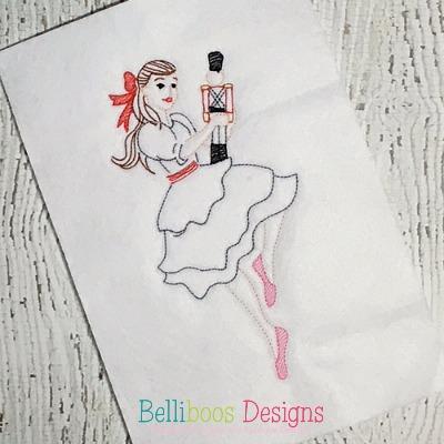 ballerina embroidery design - nutcracker embroidery design - Christmas embroidery design - holiday embroidery design - embroidery design sketch embroidery design - colorwork embroidery design