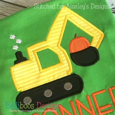 pumpkin applique - digger applique - fall applique - halloween applique - thanksgiving applique - construction applique - transportation applique - applique design - embroidery design