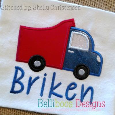 truck applique, dump truck applique, transportation applique, applique design, embroidery design