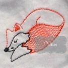 Sleepy Fox Vintage Line Art