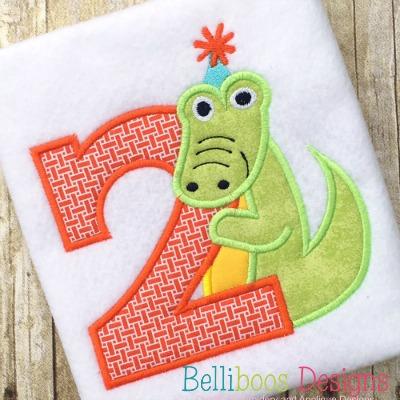 alligator applique, birthday applique