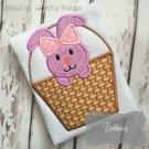 Girly Bunny in Basket Applique