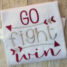 Go Fight Win Embroidery Saying