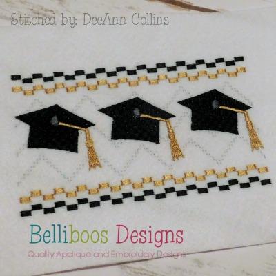 graduation embroidery design, graduation faux smock