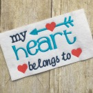 Heart Belongs to Blank Embroidery Saying