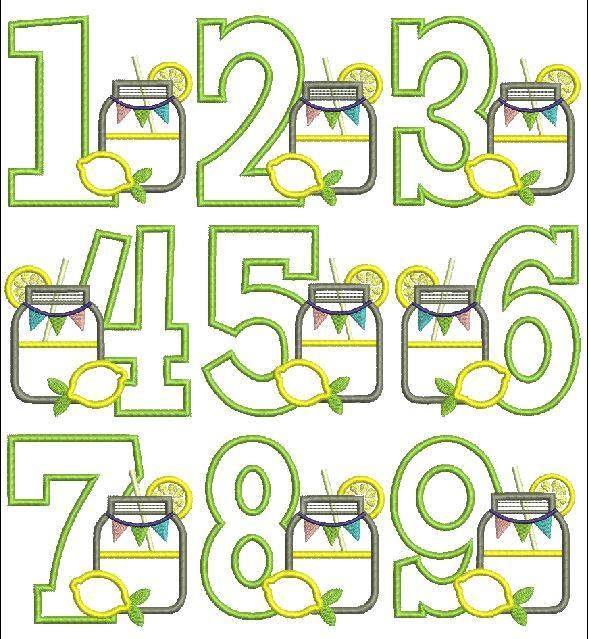 lemonade applique design, mason jar applique design, summer applique design, applique number set