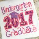 Kindergarten Graduate 2017 Applique Saying