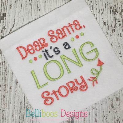 Christmas embroidery - holiday embroidery - santa embroidery - Christmas embroidery saying - embroidery saying - machine embroidery - embroidery design - Long story santa