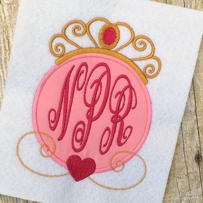 princess applique design, monogram applique frame, birthday applique design