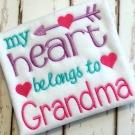 Heart Belongs to Grandma Embroidery Saying