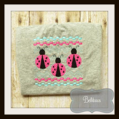 Belliboos Designs Ladybug Faux Smocking Embroidery Design