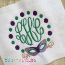 Mardi Gras Mask Monogram Embroidery Frame